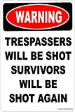 Warning TRESPASSERS Will BE Shot Survivors Will BE Shot Again Aluminum 8 x 12 Tin Metal Novelty Danger Sign