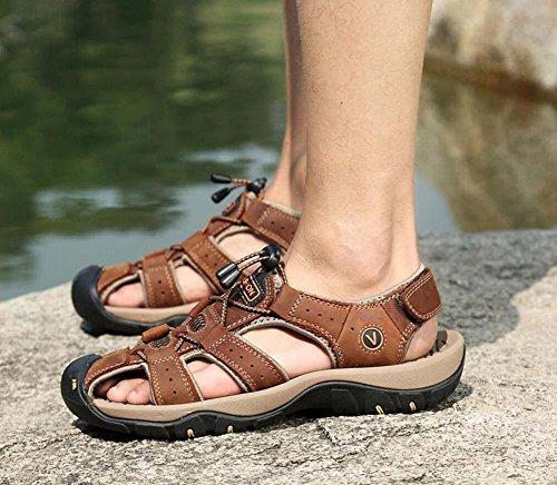 Onfly Hombres Chicos Dedo del pie cerrado Cuero Casual Sandalias Zapatillas Antideslizante Respirable Para caminar Al aire libre Sandalias Zapatos de agua Zapatillas de deporte ocasionales Playa Zapat Dark Brown