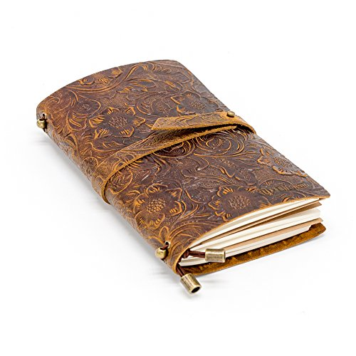 LIFEMATE Leather Notebook Amazing Bundle Journal - Antique Soft Leather Notebook Refillable Travelers Journal -Brown (S)