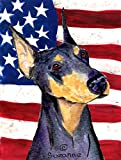 Caroline's Treasures SS4022CHF USA American Flag with Doberman Flag Canvas, Large, Multicolor
