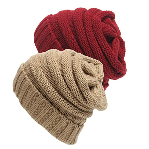 d711bc26c48 Galleon - Senker 2 Pack Slouchy Beanie Cap Knit Soft Cozy Cable Hats For  Women And Men
