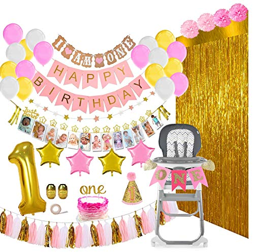 Baby Girl First Birthday Decorations & Party Supplies Mega Bundle [133 Pieces] | Includes Balloons, Banners, 12 Months Milestones, Garlands, Cake Topper, Pom Poms, Party Hat, Foil Fringe Backdrops, Gold -