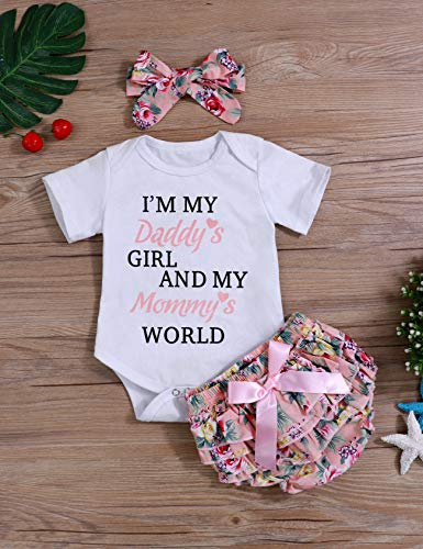 f36fbe08122b Newborn Baby Girls Clothes Letters Romper Floral Shorts with Headband  Bodysuit Outfit Sets(70) Pink