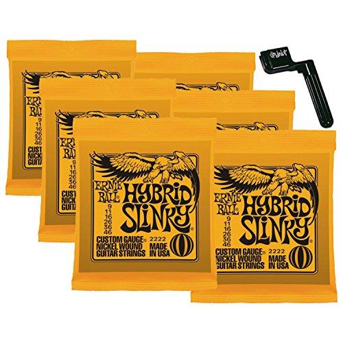 6 Sets of Ernie Ball 2222 Nickel Hybrid Slinky Electric Guitar Strings w/FREE Peg Winder