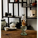 dailymall 3Pcs Clear Glass Oil Lamp Home Reading Room Light Tabletop Decor Kerosene Burner