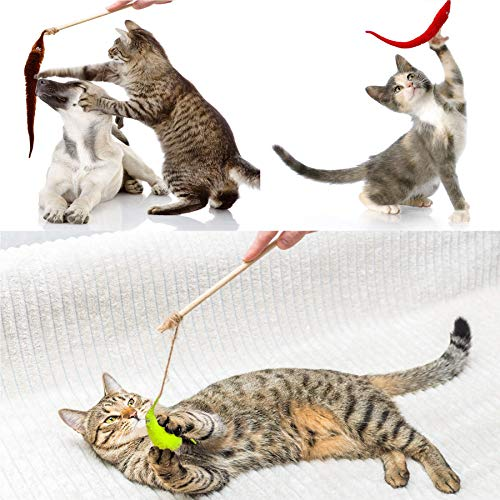 Happy Will 25 Pcs Fuzzy Magic Worms Toys with Invisible String Wiggly Magic Trick Carnival Party Favors for Kids Cat