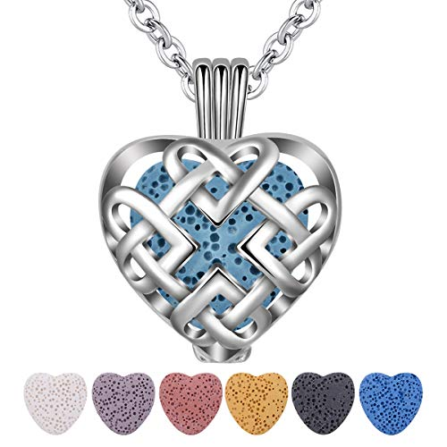 INFUSEU Celtic Love Eternity Knot Essential Oil Diffuser Necklace with 7 Heart Lava Rock Stones for Women Aromatherapy Jewelry ()
