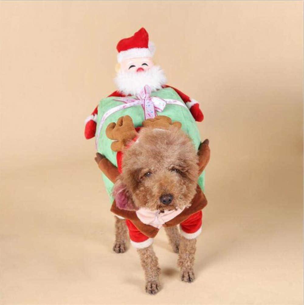 Farzeo Equipo de la Navidad para Mascotas, cálido y Confortable Chaqueta de Montar a Caballo de Papá Noel de Invierno para Mascotas, Adecuada para Perros y Gatos Fun Holiday Set,L