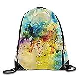Mother Baby Rainbow Elephant Lightweight Drawstring Bag Sport Backpack
