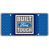 Built Ford Tough Faux Diamond Plate Reflectorized Souvenir License Plate