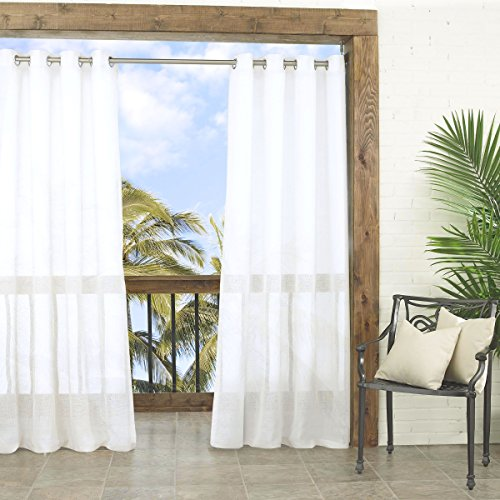 Parasol 14026052084WHI Summerland Key 52-Inch by 84-Inch Sheer Indoor / Outdoor Single Curtain Panel, White (Sunroom Curtains)