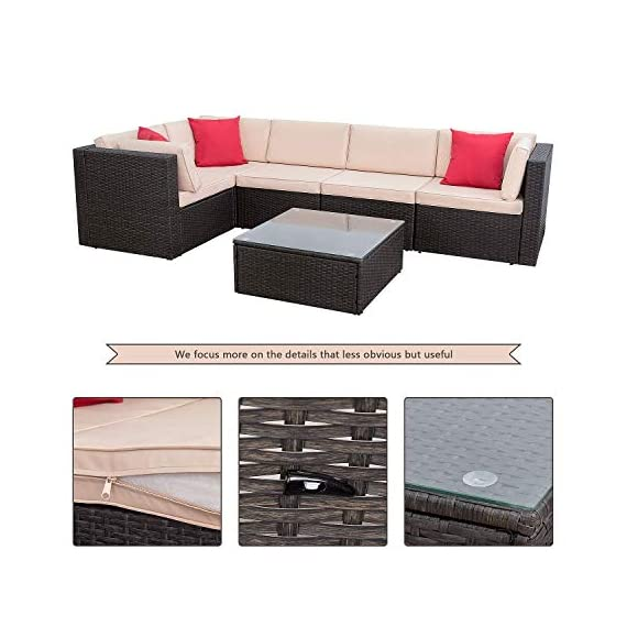 Homall 6 Pieces Patio Furniture Sets Outdoor Sectional Sofa All Weather PE Rattan Patio Conversation Set Manual Wicker Couch with Cushions and Glass Table (Beige) - Widely used: It can satisfy 4-5 people to eat and talk comfortably without feeling crowded. Suitable for your courtyard, patio, backyard and poolside, and it will make your space more modern and elegant. Free combination: In order to give you and your family more comfortable experience and more choices, we designed this Homall set. It can be rearranged in a variety of ways to fit your decorations or space. Easy to clean: Cushions are equipped with zippers for easy disassembly and are washable. The easily removable tempered glass on the table is very convenient to clean after use, meanwhile is very firm. - patio-furniture, patio, conversation-sets - 51r04cY2ozL. SS570  -