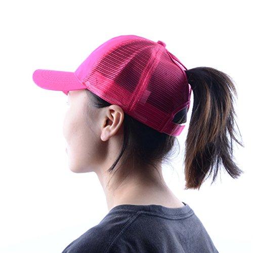 MYZOPER Ponytail Messy Buns Trucker Ponycaps - Adjustable Baseball Cap Visor Dad Hat for Womens ...