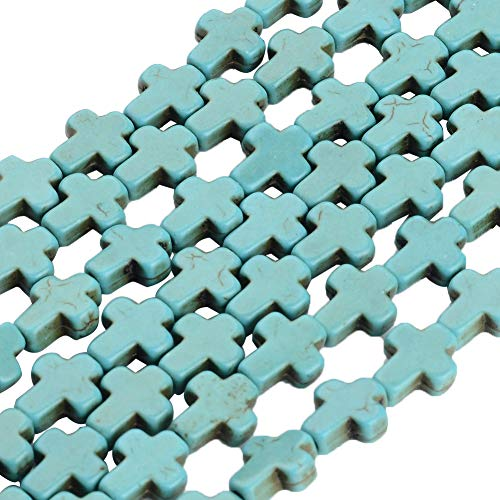 ARRICRAFT 20 Strands 8x10mm Synthetic Turquoise Beads Strands Cross Shape for Jewelry Making, About 38pcs/Strand