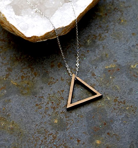 product necklace gold triangle pendant black