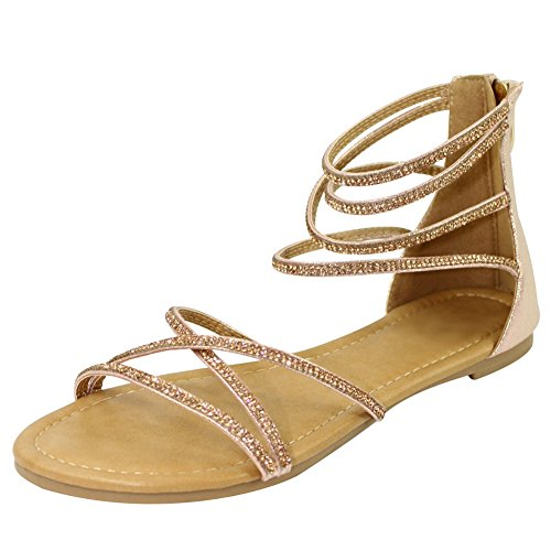 Top Pink Bling Rhinestone Strappy Sandals Size 8 Fun Summer Ankle Strap Low Heel Stylish Designer Casual Comfy Modern Cute Sexy Sparkly Barefoot Slippers Sale Women Ladies Teen Girl (Size 8, Pink)