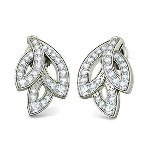 Or blanc 18K 0.516CT TW Round-cut-diamond (IJ | SI) Boucles d'oreille à tige