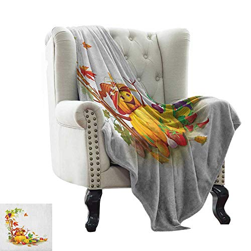 (LsWOW Warm Blanket Kids Thanksgiving,Autumn Harvest Theme with Various Foods from Country Garden Agriculture, Multicolor Indoor/Outdoor, Comfortable for All Seasons 60