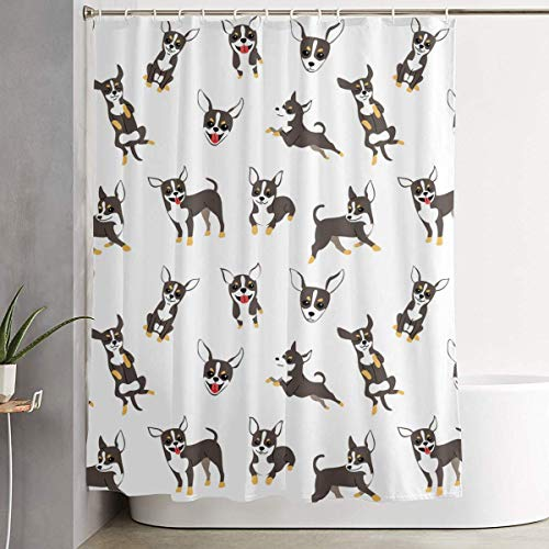 NOAID Shower Curtains Set with Hooks Cartoon Chihuahua Dog Pattern Soap Resistant Waterproof Antibacterial Polyester Decor Bathroom Curtain 60/71/Inch ()