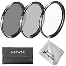 Neewer 55MM Lens Filter Kit: UV Filter + CPL Filter + ND4 Filter + Filter Pouch + Cleaning Cloth for Sony Alpha Series DSLR Cameras with 18-55mm, 75-300mm f/4.5-5.6, 50mm f/1.4 Lenses