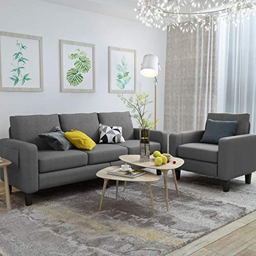 Mecor 2 Piece Living Room Sofa Set Modern Linen Fabric Couch Furniture Upholstered 3 Seat Sofa Couch and Single Sofa Chair for Living Room, Bedroom, Office, Apartment, Dorm and Small Space