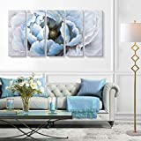 Large Modern Abstract Floral Wall Art Living Room Hand-Painted Blooming Flower Oil Painting on Wrapped Canvas Artwork for Bedroom Bathroom Wall Decoration 5 Pieces Blue Peony Gold Core 60x32 inch