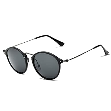 c5da524c87 VEITHDIA PolarizedSunglasses Round Male Eyewear for Men Women 6358 (Black  gray