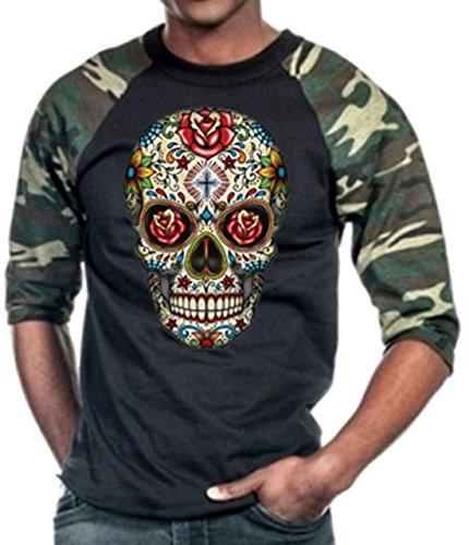 Rose Sugar Skull Baseball T-Shirt Camo/Black M-3XL
