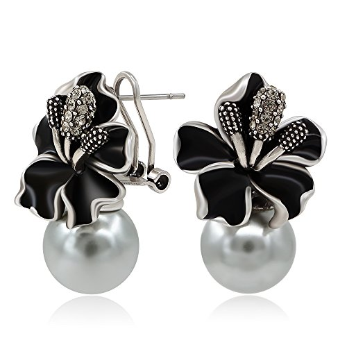 - Kemstone Vintage Simulate Pearls Black Flower Stud Earrings Silver Earrings for Women