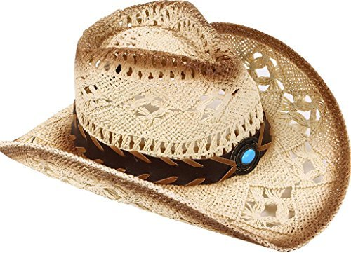 TAUT Unisex Woven Straw Ranch Cowboy Hat with Shapeable Brim -