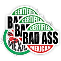 4-pk BAD ASS MEXICAN + HECHO MEXICO Hard Hat Stickers | Safety Helmet Decals | Labels Toolbox Mexico Mechanic Laborer Carpenter Electrician Forklift Operator Heavy Equipment Crane Dozer Shovel