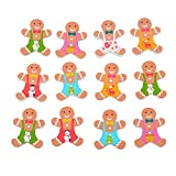 Souarts Colorful Gingerbread Man 2 Holes Wood Wooden Buttons for DIY Crafts Pack of 50pcs