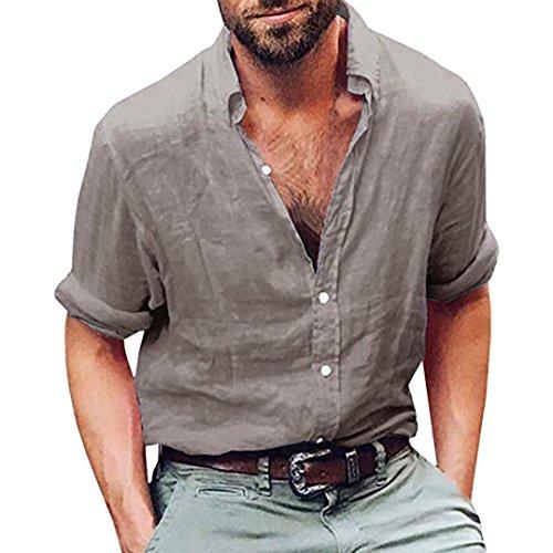 vermers Mens Tops Mens Long Sleeve Henley Shirt Cotton Linen Beach Yoga Loose Fit Blouse(XL, Gray)