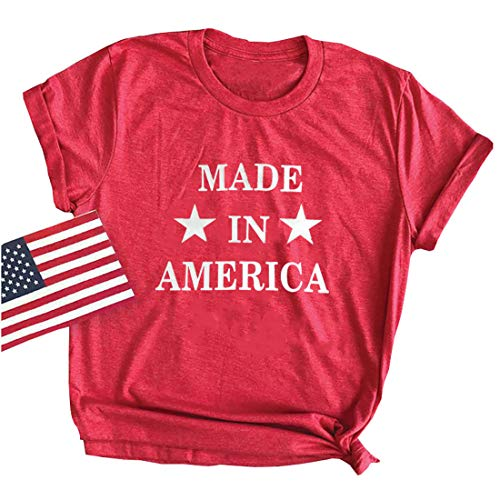 Made in American T-Shirt for Women 4th of July Patriotic Graphic Tee Letter Print Funny Tops (Red, M)