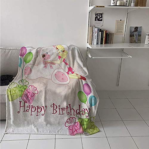 Maisi Custom Design Cozy Flannel Blanket, Baby Girl Birthday with Teddy Bears Toys Balloons Surprise Boxes Dolls Image, Oversized Travel Throw Cover Blanket 70x60 Inch Pale Pink