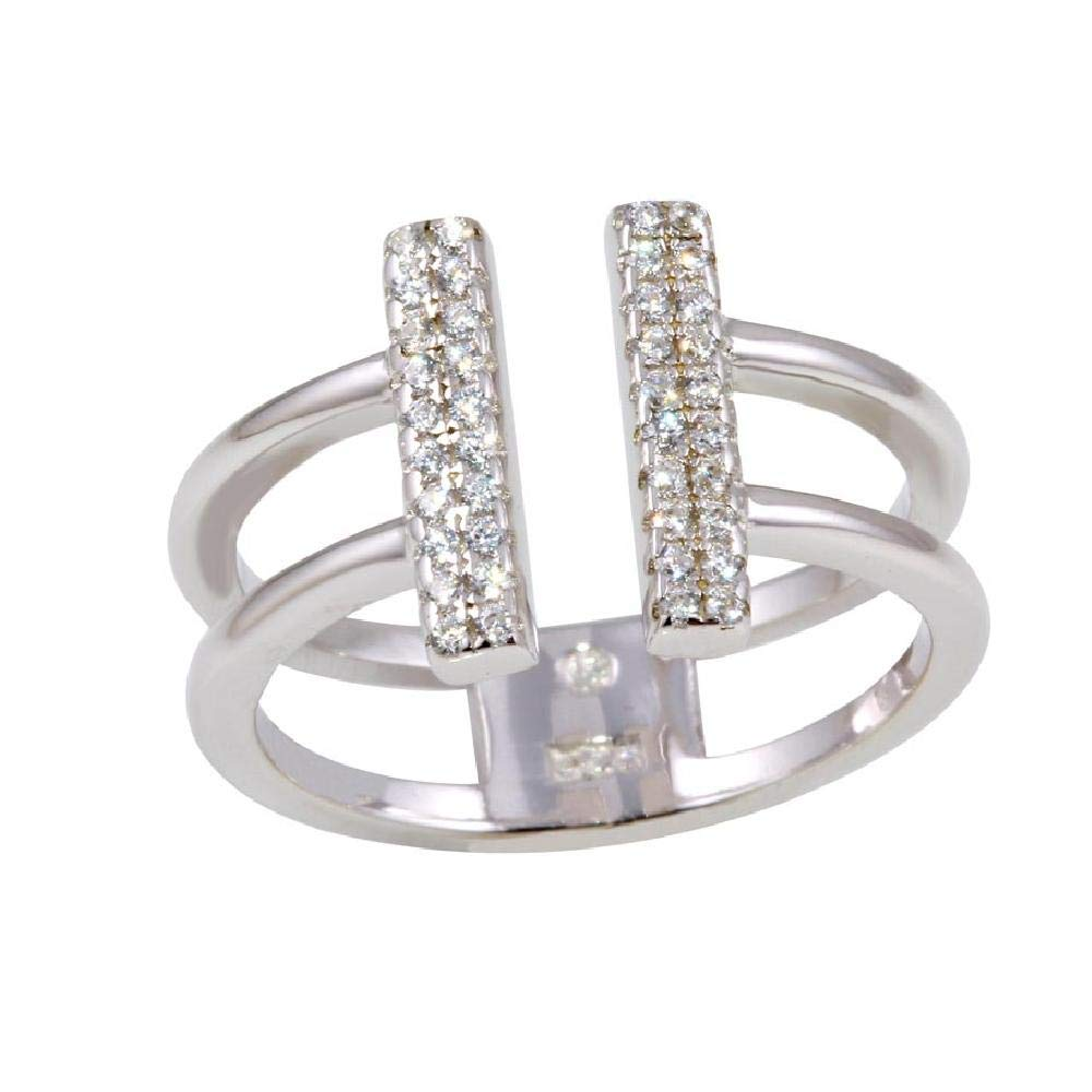 SURANO DESIGN JEWELRY Sterling Silver CZ Stones Bar Open Ring
