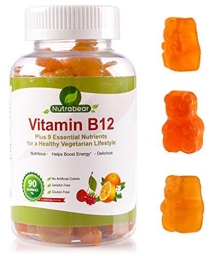 Витамин B12 + поливитаминные Gummy Bears, жевательные Желатин-Free Дополнение для вегетарианцев, включает витамины А, С, D, Е, цинк и B-Complex - B5, B6 и B9 - По Nutrabear