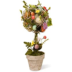 National Tree 17 Inch Easter Topiary with Mixed Flowers, Twigs and Pastel Eggs (GAE30-17TEF)