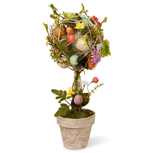 Easter Topiary with Mixed Flowers, Twigs and Pastel Eggs