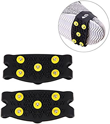 1 Pair Snow Ice Climbing Anti Slip Spikes Grips Crampon Cleats Stud Shoes Cover