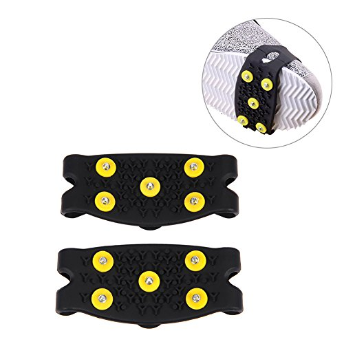 One Pair Winter Non-Slip Strap on Shoe Snow Ice Grips Grabbers Ice Cleats Snow Ice Climbing Spikes Grips Crampon Cleats with 5-Stud Anti Slip Snow Shoe Spike Cover SiliconeSnowShoes Cover