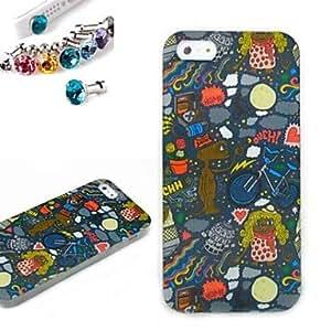 WQQ patrón cuadro del adorno de TPU caso de la cubierta con el enchufe a prueba de polvo para el iphone 5 / 5s
