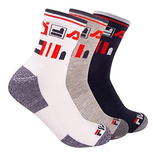 Fila Men's 3-Pack Heritage Stripe Shortie Crew Socks (White/Gray/Navy)