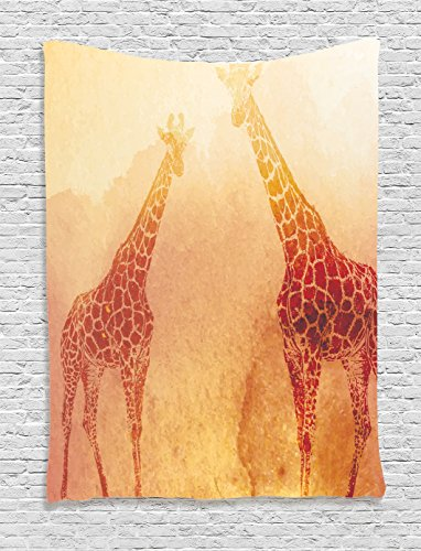 y by Ambesonne, Illustration Of Tropic African Giraffes Tallest Neck Animal Mammal in Retro Vintage Print, Bedroom Living Room Dorm Decor, 40 W x 60 L Inches, Orange (Safari Giraffe)