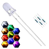 EDGELEC 200pcs 10 Colors x 20pcs 5mm LED Light Emitting Diode Assorted Kit 29mm Lead Clear Round Lamp White Red Blue Green Yellow Purple/UV Ultra Bright LEDs Bulb +300pcs Resistors For DC 6-12V Lights