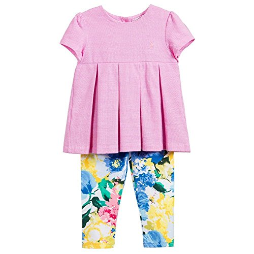 Ralph Lauren Polo Baby Girls Pleated Oxford Top & Floral Print Leggings Set (3 Months) (Ralph Lauren Pants For Girls)