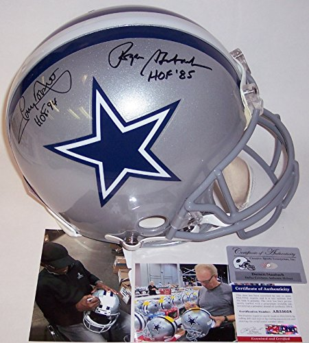 Roger Staubach & Tony Dorsett Autographed Hand Signed Dallas Cowboys Full Size Authentic Football Helmet - with Hall of Fame inscription - PSA/DNA