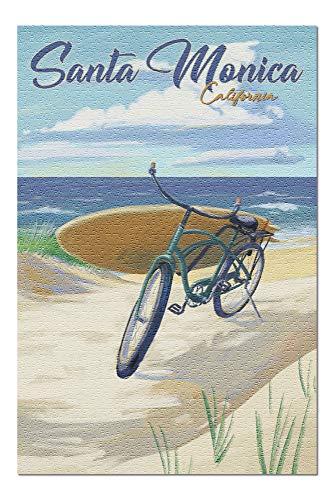 Santa Monica, California - Beach Cruiser and Surfboard (20x30 Premium 1000 Piece Jigsaw Puzzle, Made in USA!)