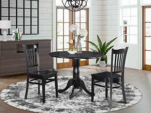 3 PC small Kitchen Table and Chairs set-round Kitchen Table and 2 dinette Chairs