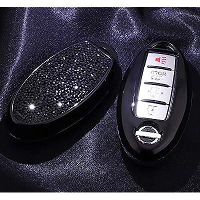 Royalfox(TM) 3 4 5 6 Buttons 3D Bling Soft TPU keyless Entry Remote Smart Key Fob case Cover for Infiniti Nissan Murano Pathfinder Titan Maxima Lannia Qashqai Sunny (Black)